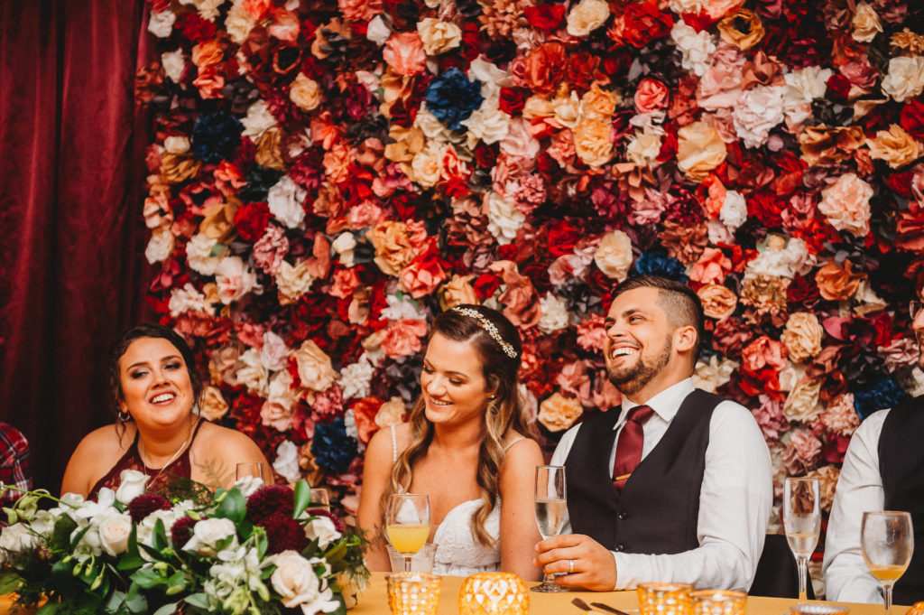 floral and stripe event decor