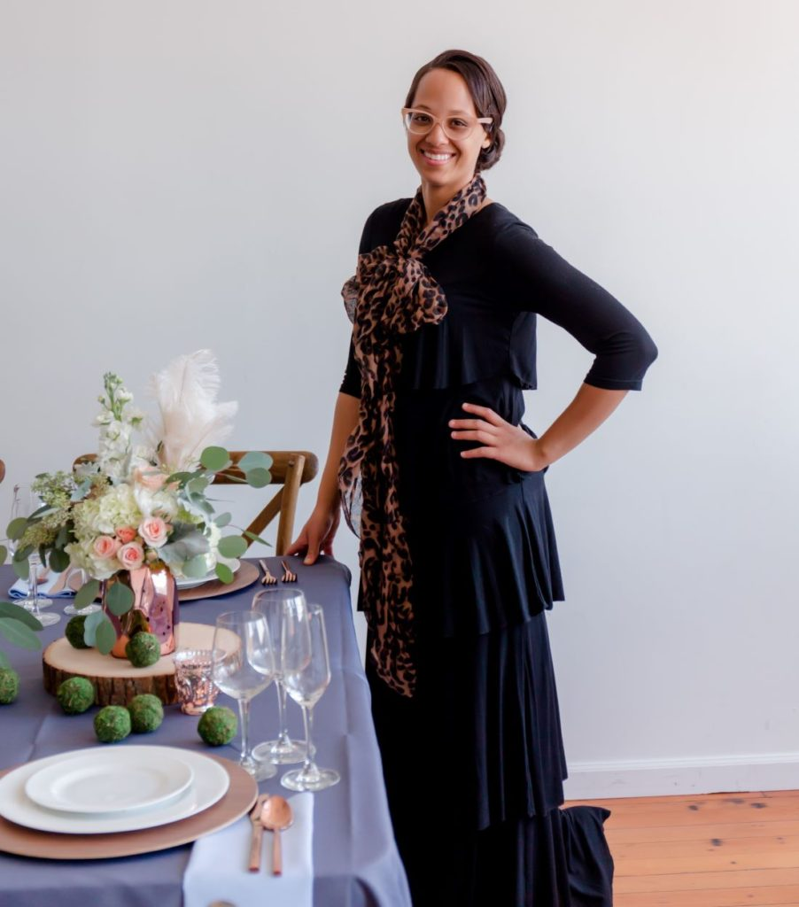 Cherelle German, owner of Floral and Stripe event and wedding design and decorator in Seattle, WA