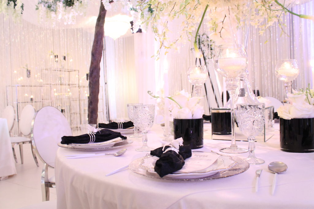 black and white modern wedding with white orchids seattle